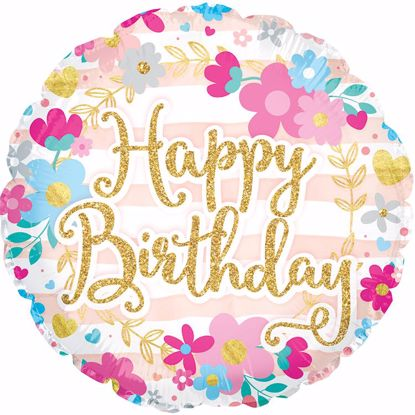 """Picture of 17"""" 2-Sided Foil Balloon: Happy Birthday Glitter Font"""