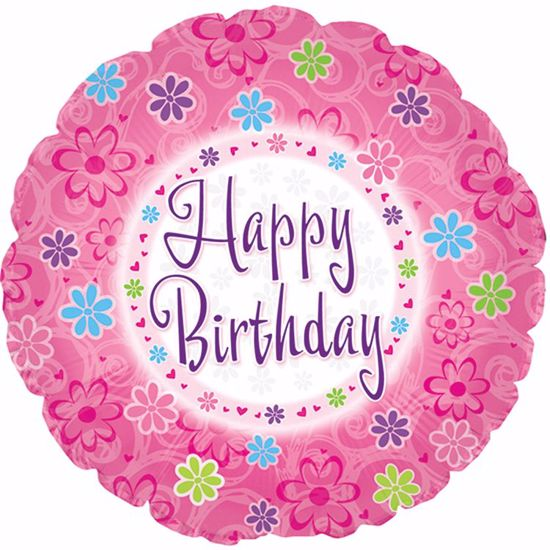 """Picture of 17"""" 2-Sided Foil Balloon: Happy Birthday Pinkish Birthday"""
