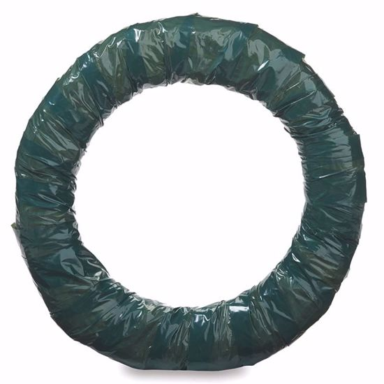 """Picture of 18"""" Straw Wreath Wrapped Green"""