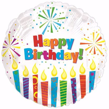 """Picture of 17"""" 2-Sided Foil Balloon: HBD Sparkling Candles"""
