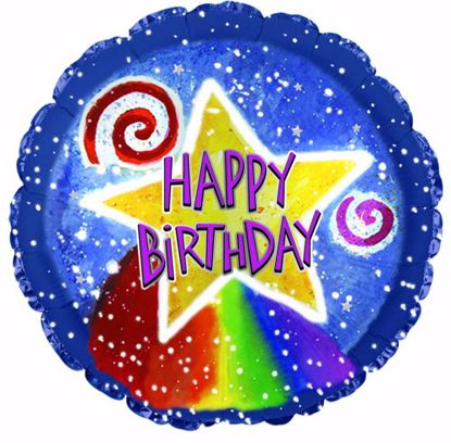 """Picture of 17"""" 2-Sided Foil Balloon: Birthday Watercolor Star"""
