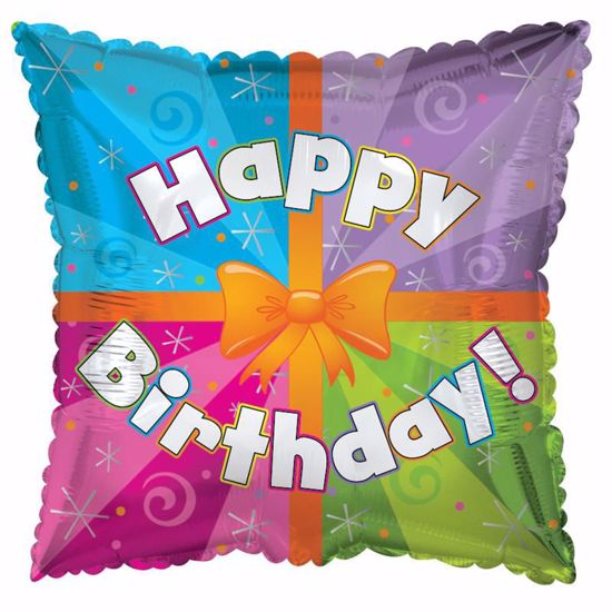 """Picture of 17"""" 2-Sided Foil Balloon: Colorful Present"""