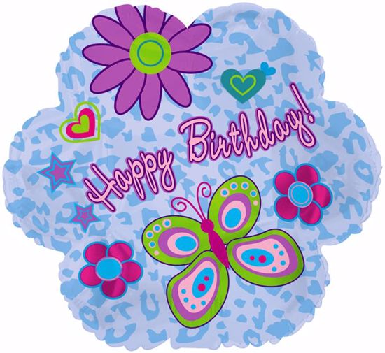 "Picture of 17"" 2-Sided Foil Balloon: Birthday Glitz"