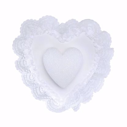 Picture of White Heart  Pillow with Lace Edge & Styrofoam Base