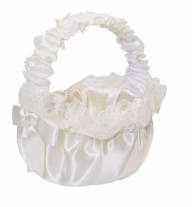 Picture of Ivory Flower Girl  Satin basket with white lace ruffle