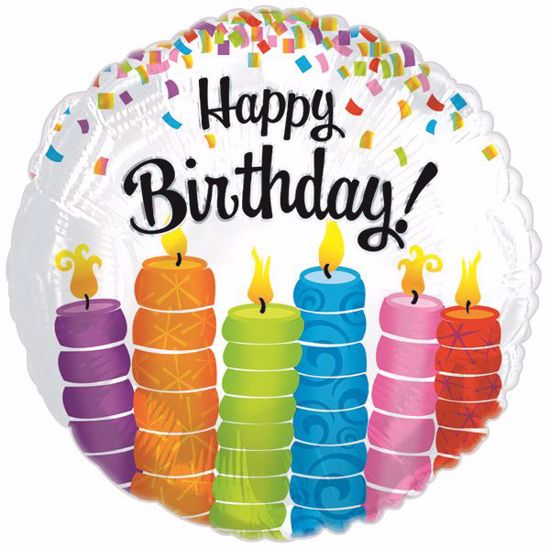 """Picture of 17"""" 2-Sided Foil Balloon: Happy Birthday Colorful Candles"""