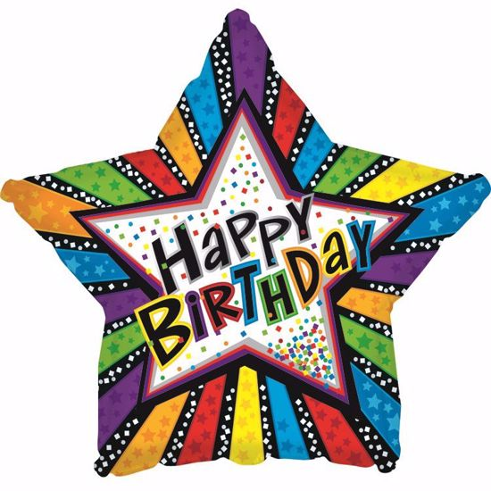"""Picture of 17"""" 2-Sided Foil Balloon: Birthday Stripes & Stars"""