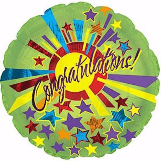 """Picture of 17"""" 2-Sided Foil Balloon: Congrats Star Burst"""