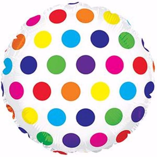 "Picture of 17"" 2-Sided Foil Balloon:Rainbow Dots"