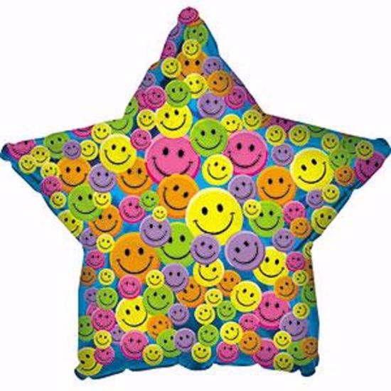 "Picture of 17"" 2-Sided Foil Balloon: Smiley Face Star"