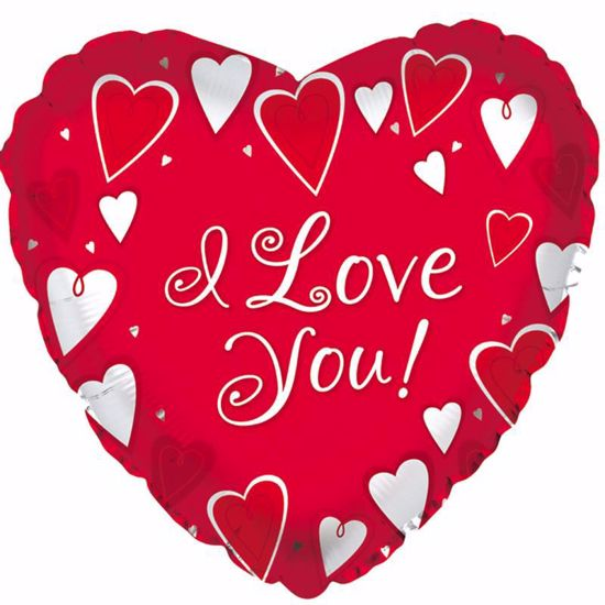 """Picture of 17"""" 2-Sided Foil Balloon: ILY Classic Hearts"""