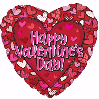 "Picture of 17"" 2-Sided Foil Balloon: HVD Patterned Hearts"