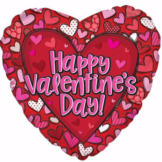 """Picture of 17"""" 2-Sided Foil Balloon: HVD Patterned Hearts"""
