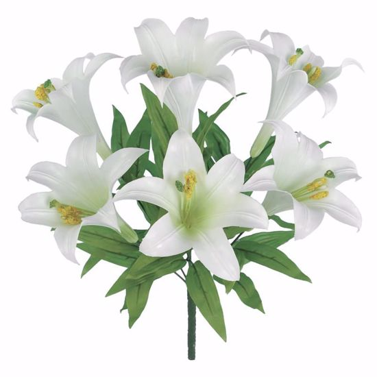"""Picture of White Easter Lily Bush (Plastic, 19"""")"""