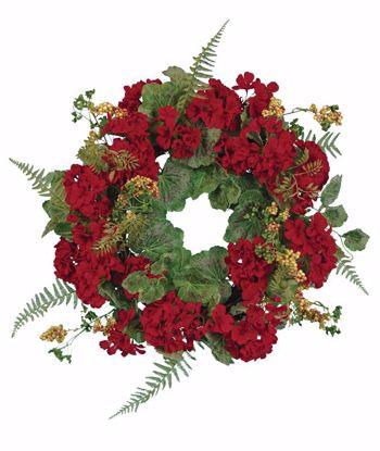 """Picture of Red Geranium Wreath (22"""")"""