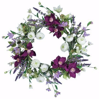 """Picture of Purple Clematis, Mum & Lavender Wreath (22"""")"""