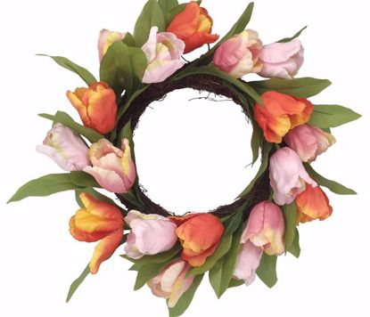 """Picture of Pink & Coral Tulip Wreath (20"""")"""