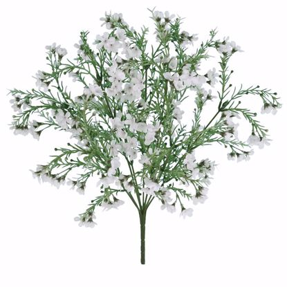 """Picture of 19"""" White Wax Flower Bush-Plastic Leaves x9"""