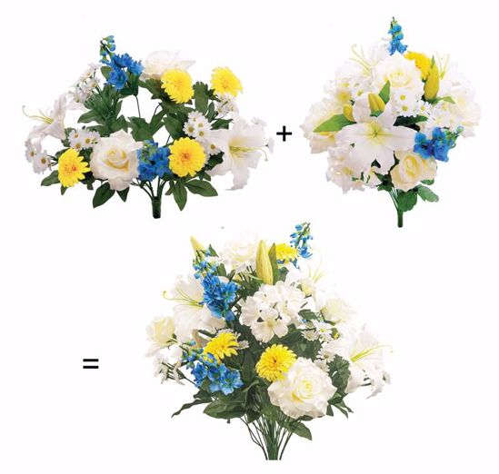"""Picture of White, Blue, Yellow Mixed Floral Bush-in-a-Bush (23.5"""")"""