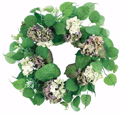 """Picture of Hydrangea with Mixed Leaves Wreath (22"""")"""