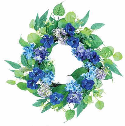 """Picture of Blue Hydrangea Cosmos Leaves Wreath (22"""")"""