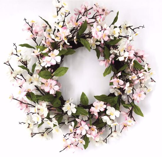 """Picture of Pink & White Blossom Wreath (20"""")"""