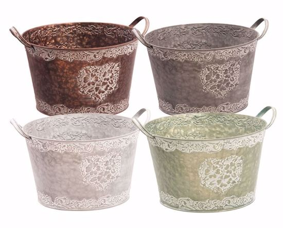 """Picture of 4 Assorted Metal Planters-11"""""""