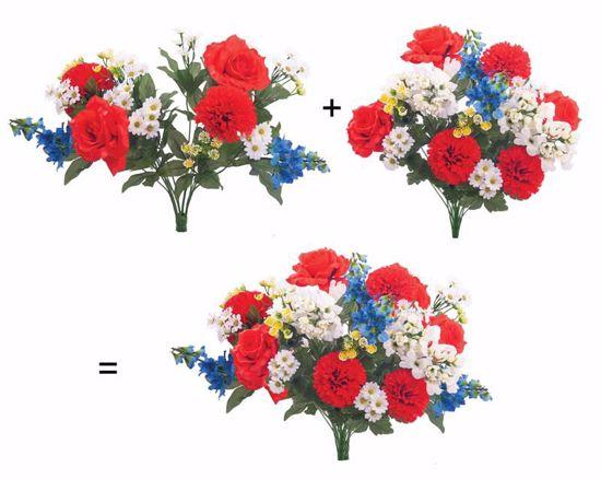 "Picture of 23.5"" Satin Rose & Delphinium w/ Carnation Snapdragon Aster Bush-in-a-Bush"