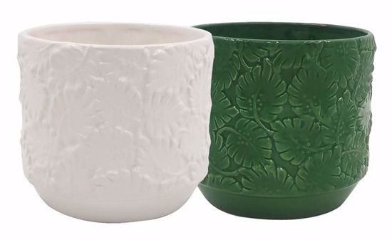 Picture of Leafy Ceramic Planter - 2 Assorted
