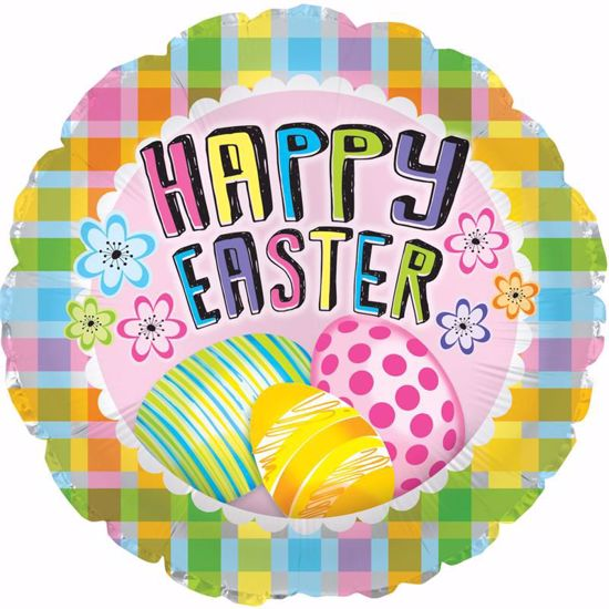 """Picture of 17"""" 2-Sided Foil Balloon: Plaid & Eggs"""