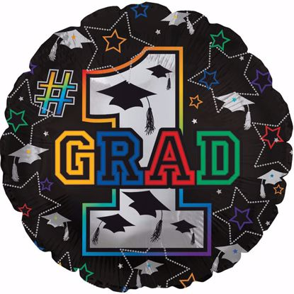 "Picture of 17"" 2-Sided Foil Balloon: Grad Stars & Caps"