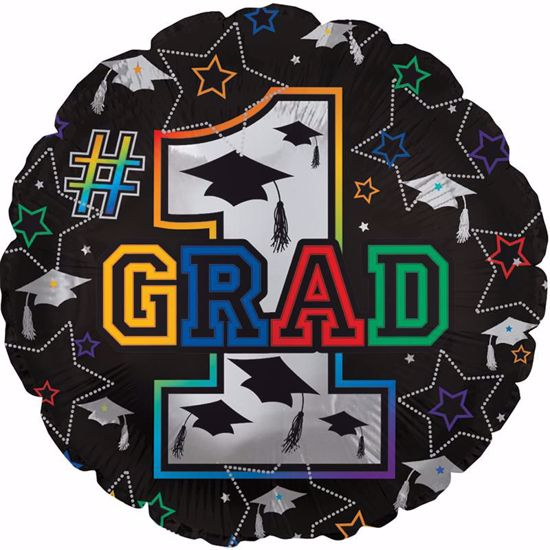 """Picture of 17"""" 2-Sided Foil Balloon: Grad Stars & Caps"""