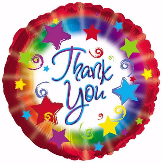 """Picture of 17"""" 2-Sided Foil Balloon: Thank You Burst"""