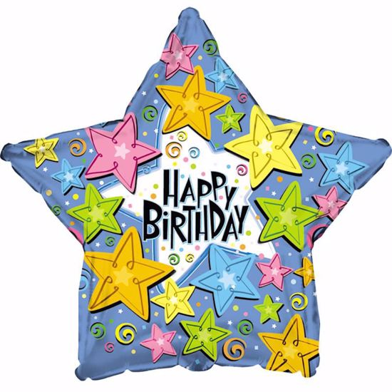 "Picture of 17"" 2-Sided Foil Balloon: HBD Stars"