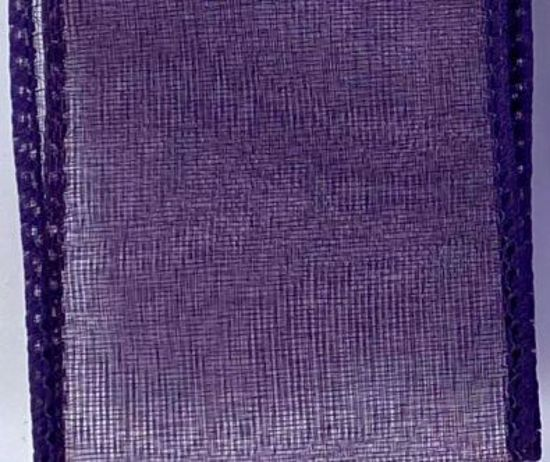 Picture of #9 Deluxe Sheer Wired Ribbon-Eggplant