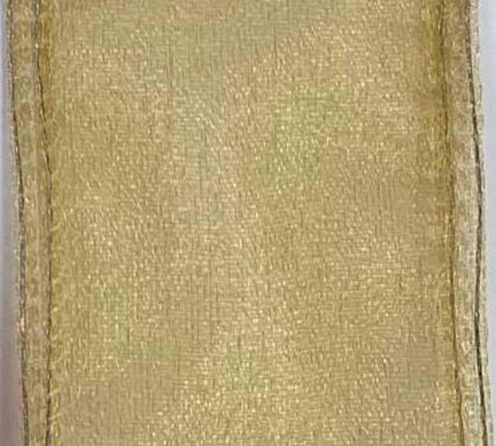 Picture of #9 Deluxe Sheer Wired Ribbon-Gold