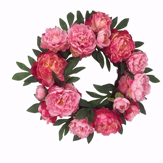 """Picture of Pink Peony Ranunculus Wreath (20"""")"""