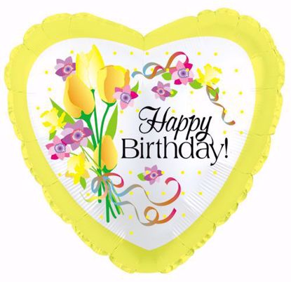 "Picture of 17"" 2-Sided Foil Balloon: Birthday Yellow Floral"