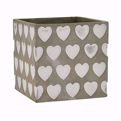 "Picture of 5"" Square Ceramic Heart Cube"