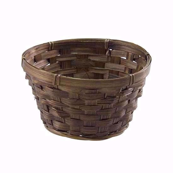 """Picture of 6.5"""" Round Dark Stain Bamboo Low Bowl"""