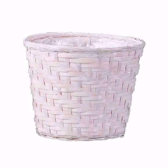 """Picture of 8.5"""" Whitewashed Azalea Pot Cover"""