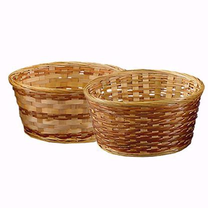 """Picture of 9.5"""" Bamboo Low Bowl with Whipped Rim-Natural Weave"""