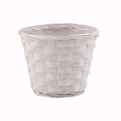 """Picture of 5"""" White Painted Bamboo Pot Covers"""