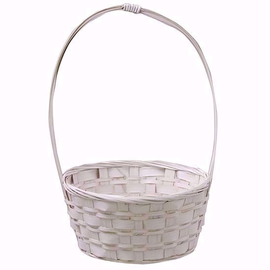 """Picture of 8"""" Whitewashed Bamboo Basket w/Handle"""