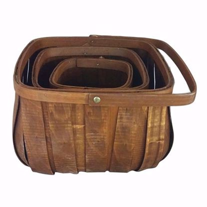 Picture of Square Chipwood Basket with Bale Handle (Set of 3 sizes)-Stained