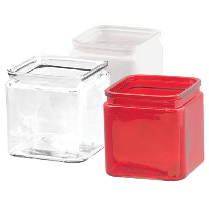 "Picture of 4.25"" Glass Cubes-Assorted Red, Frosted & Clear"