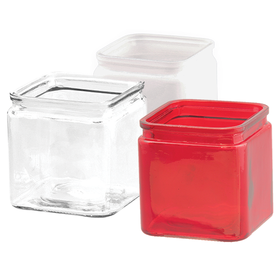 """Picture of 4.25"""" Glass Cubes-Assorted Red, Frosted & Clear"""