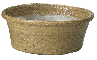 "Picture of 12"" Natural Rolled Rim Palm Leaf Dish Garden"