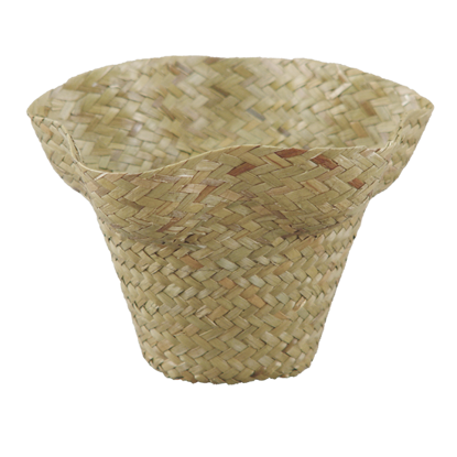 "Picture of 4"" Palm Leaf Hat Pot Cover"