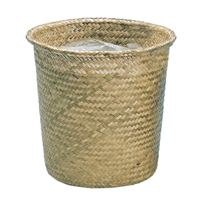 """Picture of 12"""" Rolled Rim Palm Leaf Potcover-Natural"""